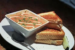 tomato soup and cheese sandwiches